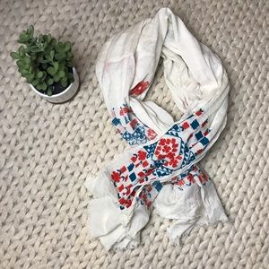 J Crew embroidered floral scarf